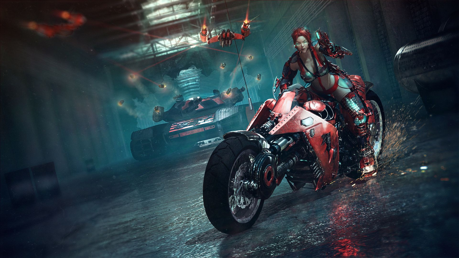 Dubstep sci fi 3d motorcycle bike warrior weapons guns tanks cyberpunk punk women girl wallpaper 1920x1080 37840 wallpaperup