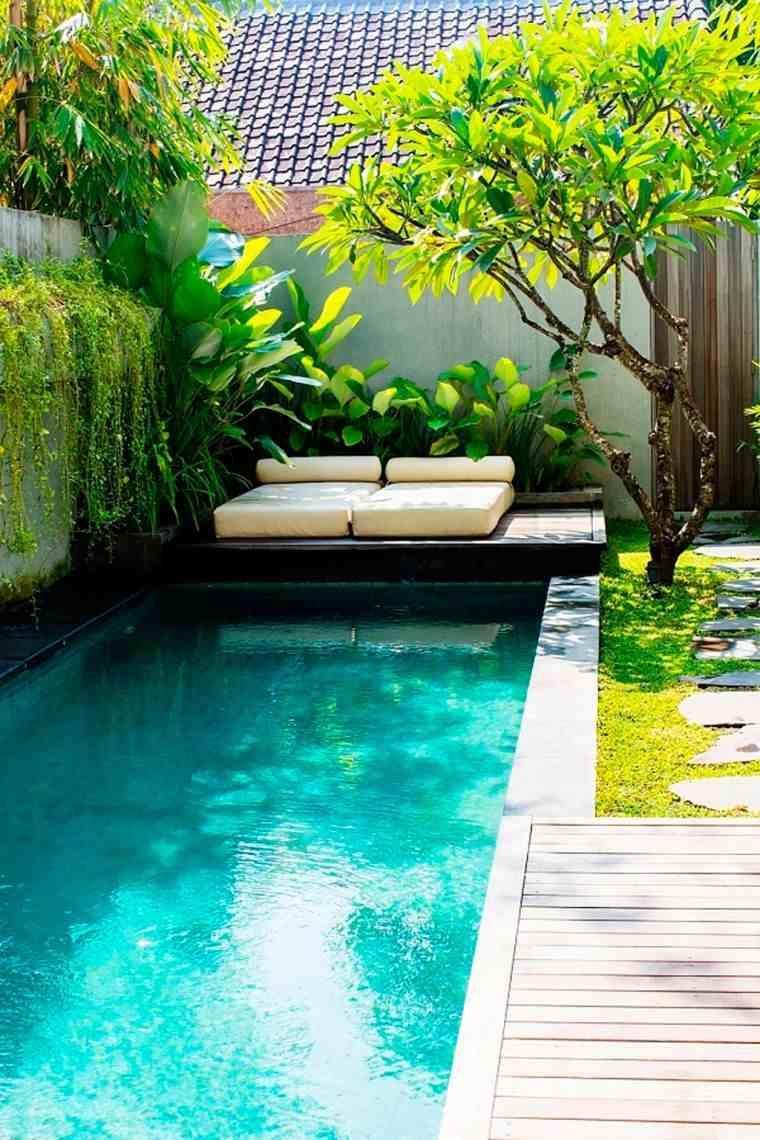 Cr er un jardin de maison moderne avec piscine de style - Creer un jardin mediterraneen ...