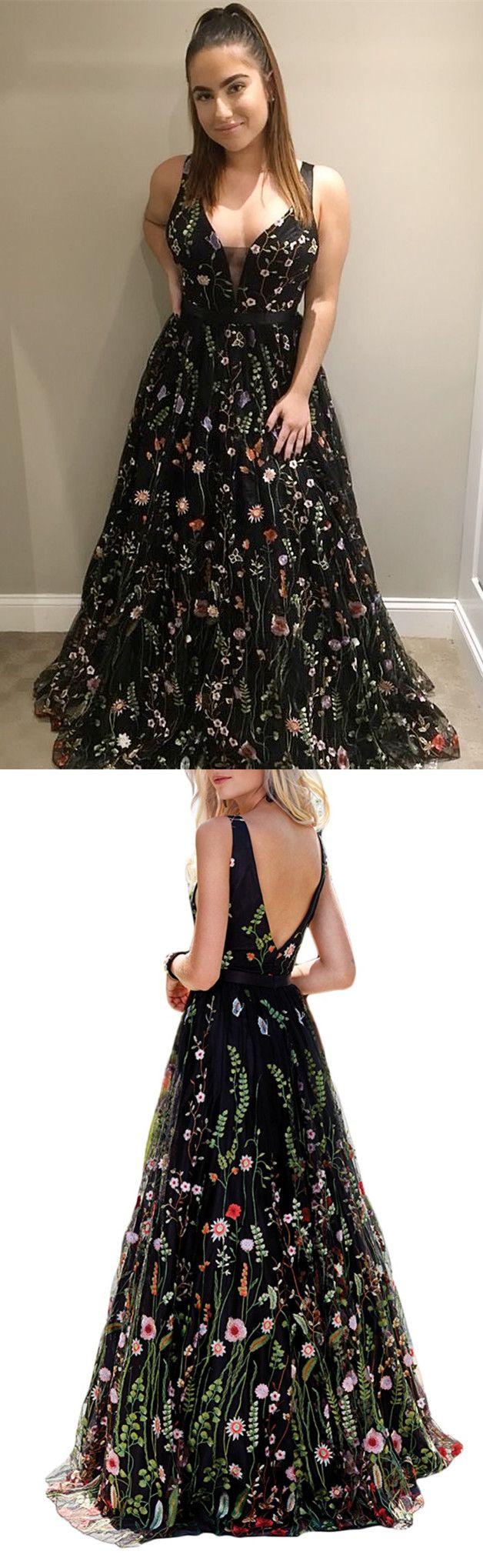 Priness straps black floral long prom dress prom dress