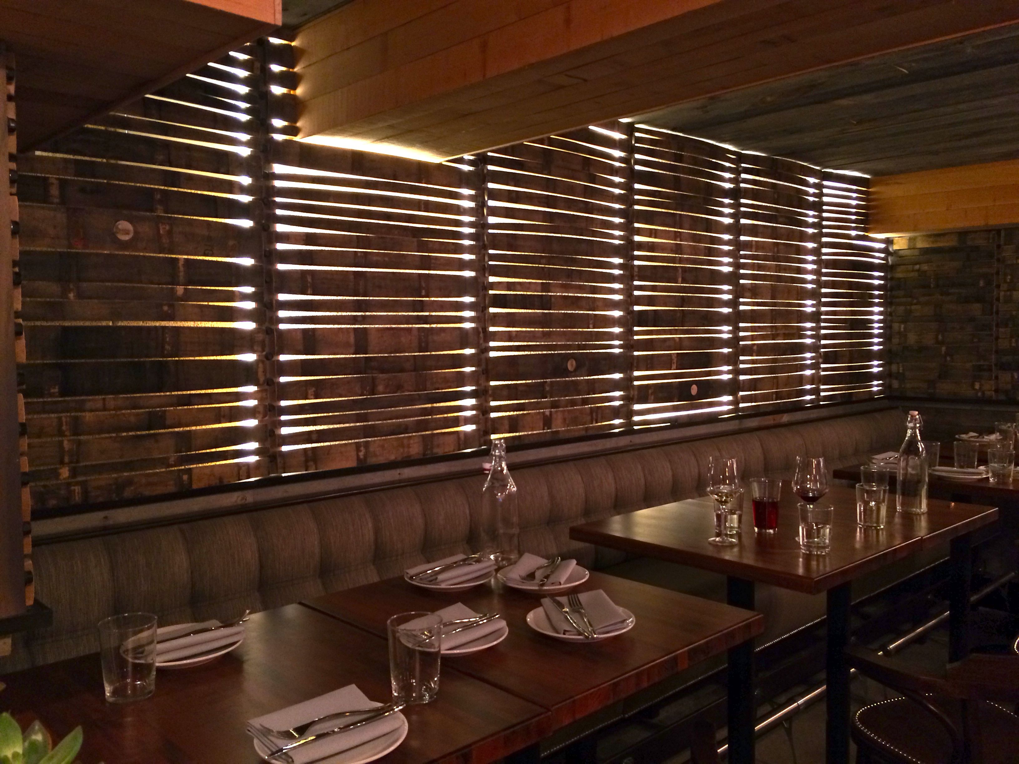 Backlit Stave wall. Alden & Harlow restaurant, Harvard ...
