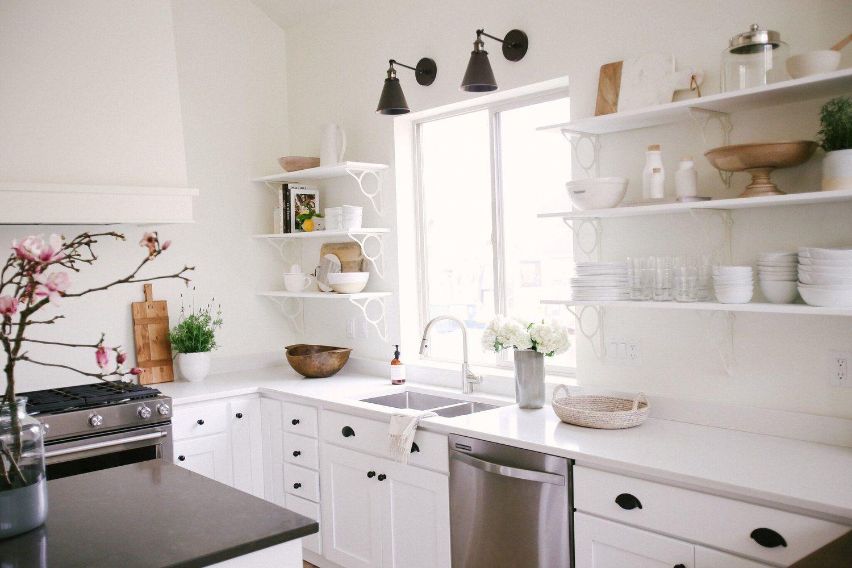 All White Minimalist Kitchen Styling with Black Hardware ...