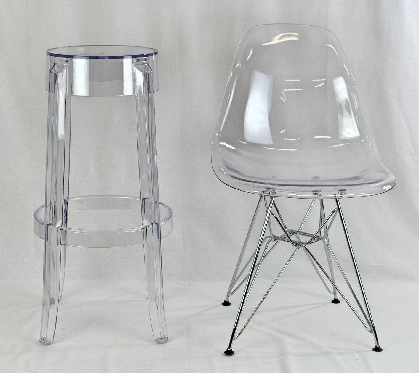 Beaudelaire Transpa Pc Stylish Designer Bar Stools Two Chairs Co