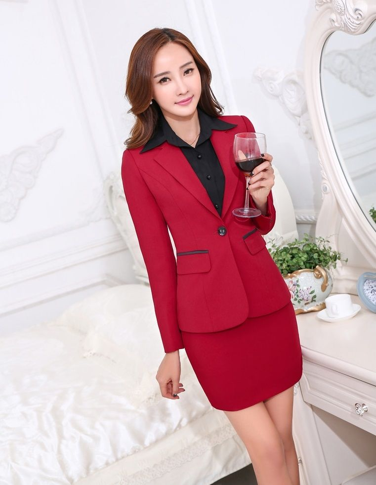 f8a69e6385e30 Plus Size 4XL Novelty Red Formal Uniform Styles Professional Autumn Winter  Female Blazers Business Women Tops And Skirt Outfits