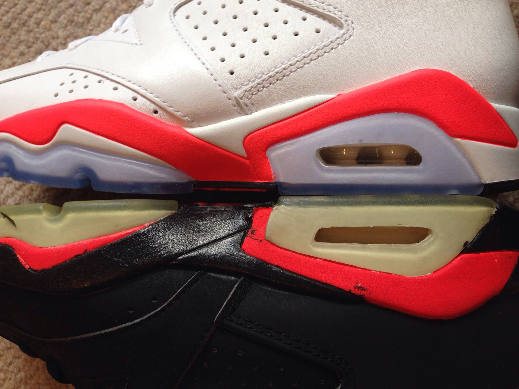 check out a9241 9858b 2014 retro white  infrared Vs 1991 OG black infrared  NikeAir  Jordan6 -  the retro infrared is pretty close to the OGs