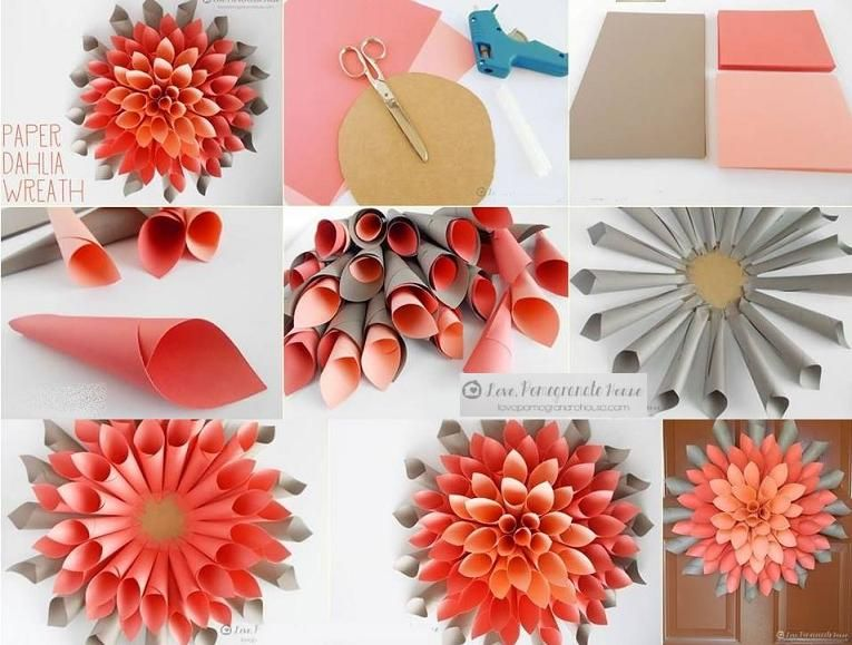 Giant Paper Dahlia Wreath Paper Flower Art Paper Crafts Diy