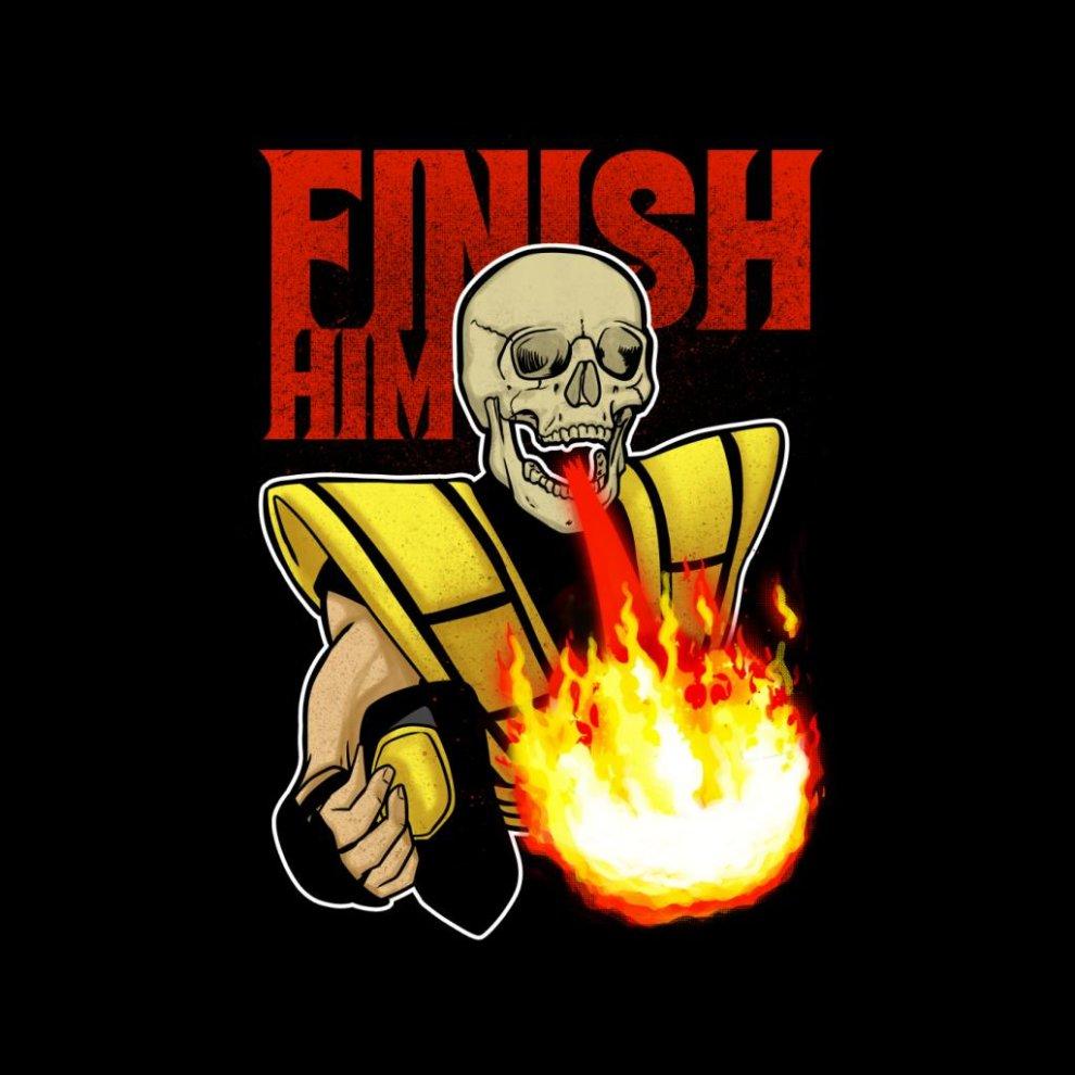 Scorpion Finish Him Mortal Kombat Men S T Shirt On Onbuy Mortal Kombat Neon Signs Mens Tshirts