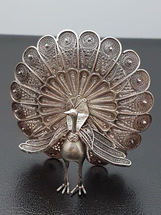 Online veilinghuis Catawiki: Filigrain Zilveren Pauw  , Indonesië, 2e helft 20e eeuw