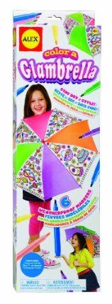 "Alex Color a Glambrella by Alex. $15.95. Stay dry in style!. Make a rainy day zany with an umbrella that you color!. Umbrella is 24 inches in diameter. Includes 6 weatherproof markers. Has fun fashion designs to color. From the Manufacturer                Make a rainy day zany with a wacky umbrella that you color!  24"" diameter umbrella has preprinted designs.  Designs include fashion accessories such as cool shoes and fun purses.  Includes 6 weatherproof markers.         ..."