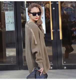 Metal-Chain Point Sweater from #YesStyle <3 REDOPIN YesStyle.com