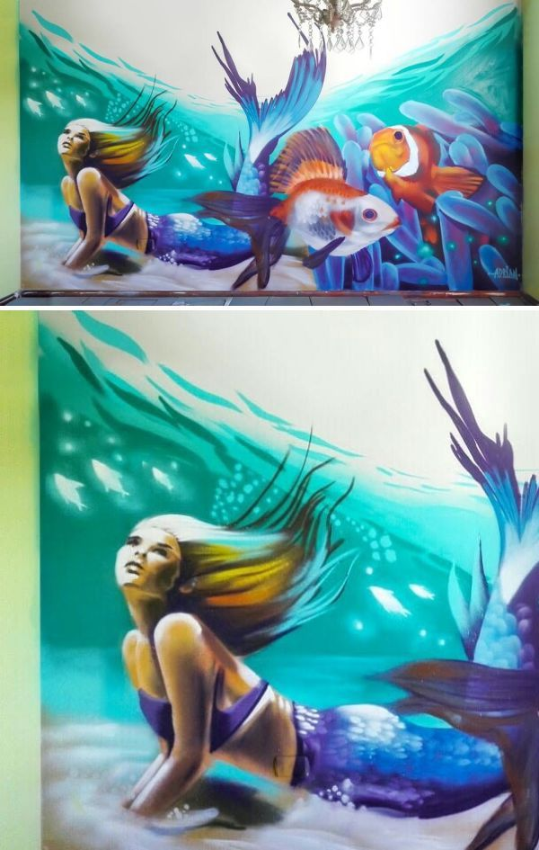 Mermaid Mural by Adrian at Private Residence, Chillán Viejo