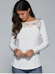 Lace Splicing Heather T-Shirt in Light Gray | Sammydress.com Mobile