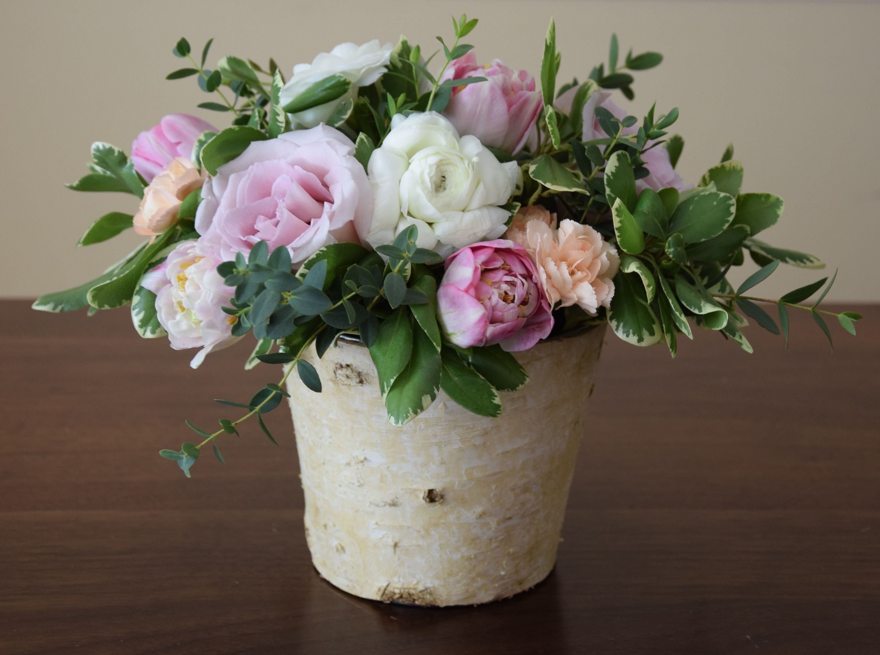 Teachers floral gift in a rustic container ranunculus roses teachers floral gift in a rustic container ranunculus roses parrot tulips mini carnations green fillers izmirmasajfo