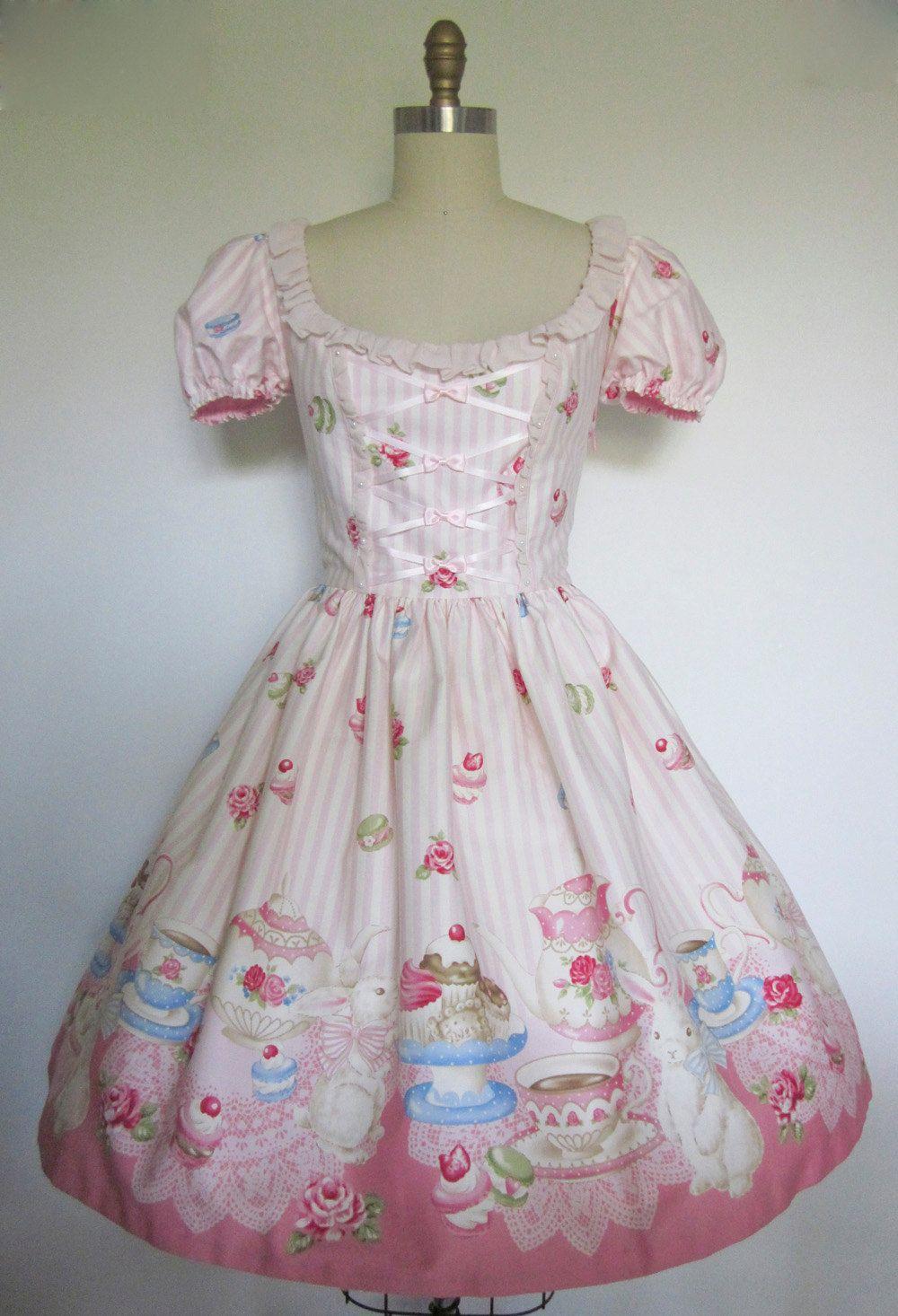 Sweet Lolita Pink Stripe Bunny Tea Party OP Dress | Pinterest