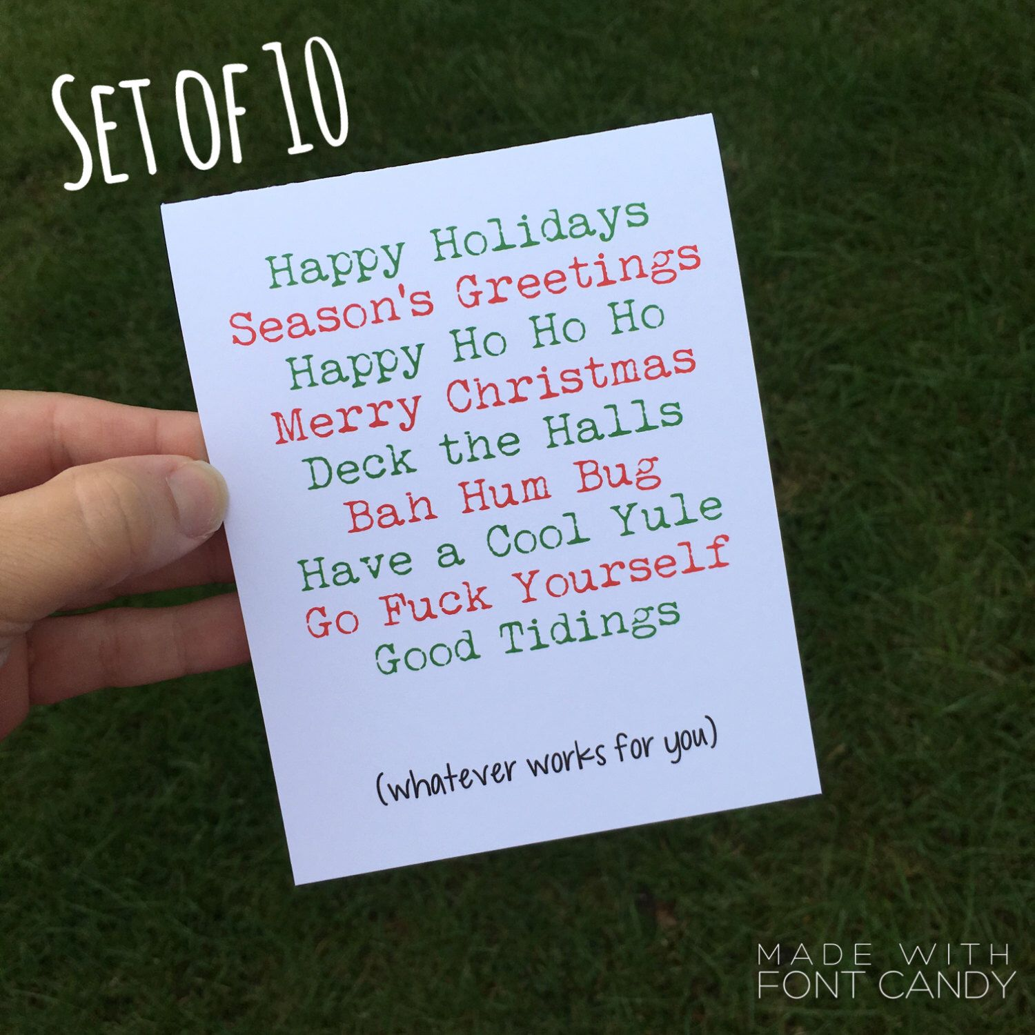 Funny Holiday Card set - Funny Christmas Card Set - inappropriate ...