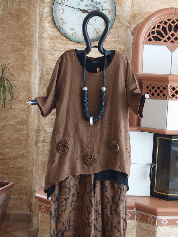8183 LABASS 2016 Lagenlook Kurzarm Leinen Shirt Rosen coffee braun Gr. XXL 52 54