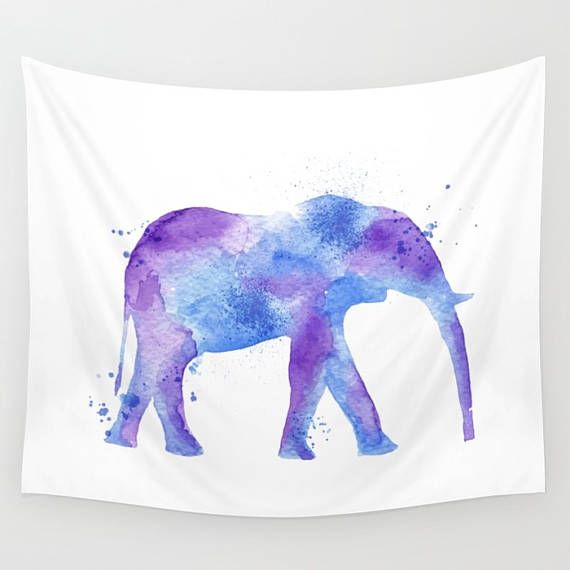Elephant Tapestry Elephant Wall Hanging Watercolor Tapestry
