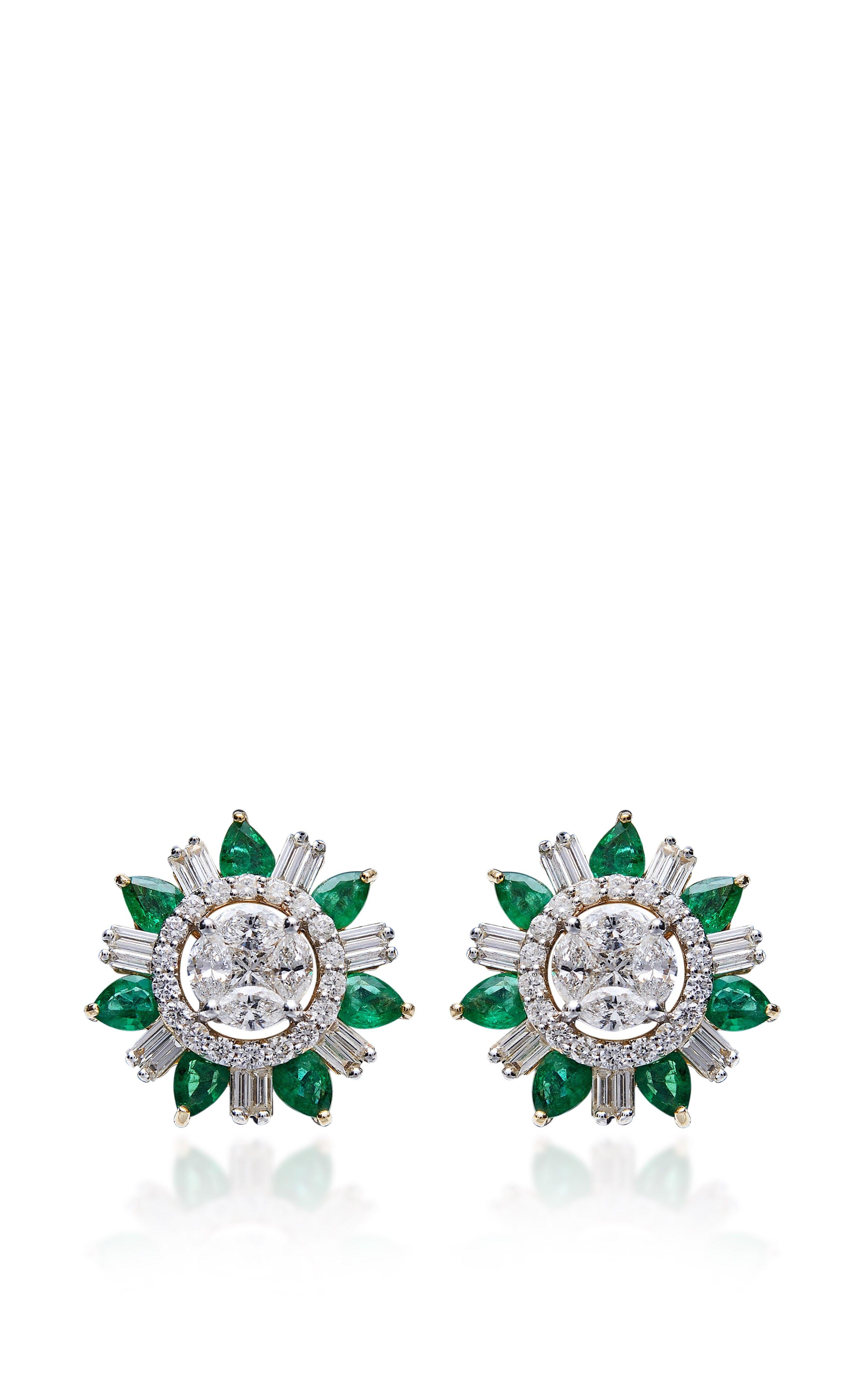 Emerald And Diamond Stud Earrings by Farah Khan Fine Jewelry for