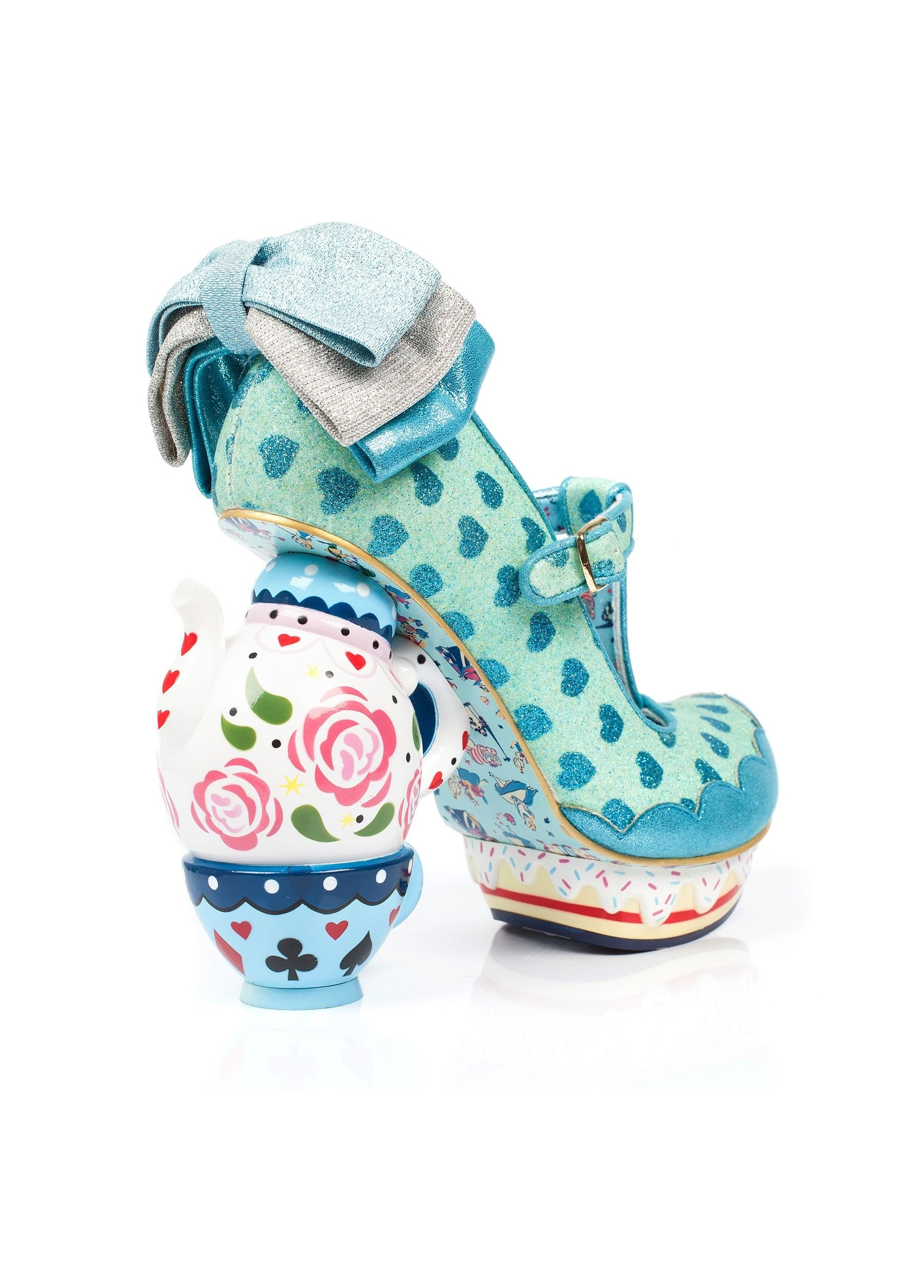 83105fb1d12 This pair of Irregular Choice Alice In Wonderland Teal My Cup Of Tea ...