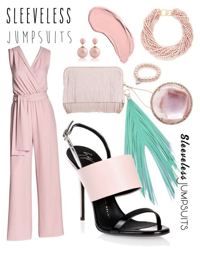 """Pink Pink"" by alexia-bahar-karabenli ❤ liked on Polyvore featuring Canvas by Lands' End, The Volon, Giuseppe Zanotti, NYX, Kenneth Jay Lane and sleevelessjumpsuits"