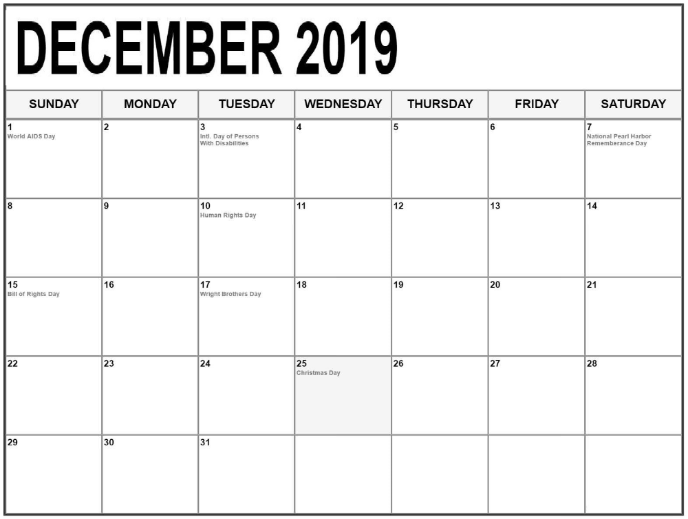 December 2019 Calendar With Holidays Monthly | 2019 calendar