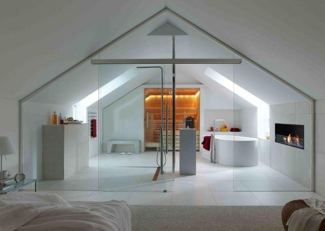 Badezimmer Dachboden Sauna Glas Trennwand Schiebetür | ? House ... Badezimmer Im Dachgeschoss Dachschrge