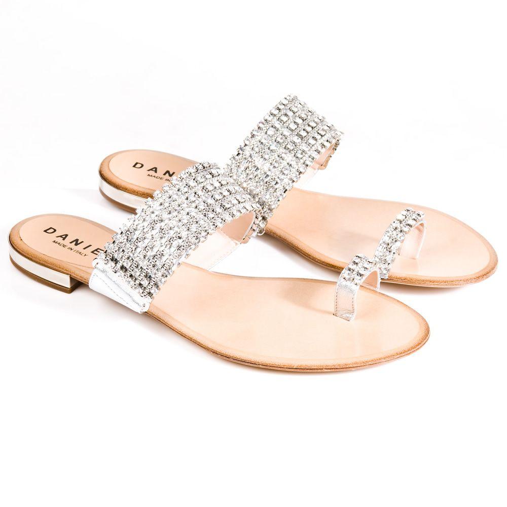 rhinestone sandals flats | Daniel Silver Rhinestone Womens Flat Sandal  [465] - £299.00