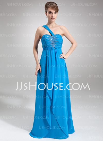 Prom Dresses - $146.99 - Empire One-Shoulder Floor-Length Chiffon Prom Dress With Ruffle Beading (018016848) http://jjshouse.com/Empire-One-Shoulder-Floor-Length-Chiffon-Prom-Dress-With-Ruffle-Beading-018016848-g16848