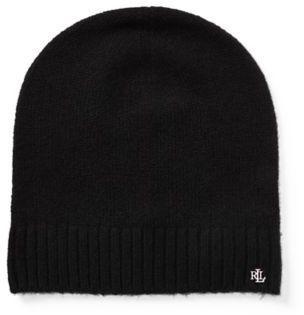 Ralph Lauren Lrl Monogram Beanie Black One Size  hat  womens  24f74f6af8