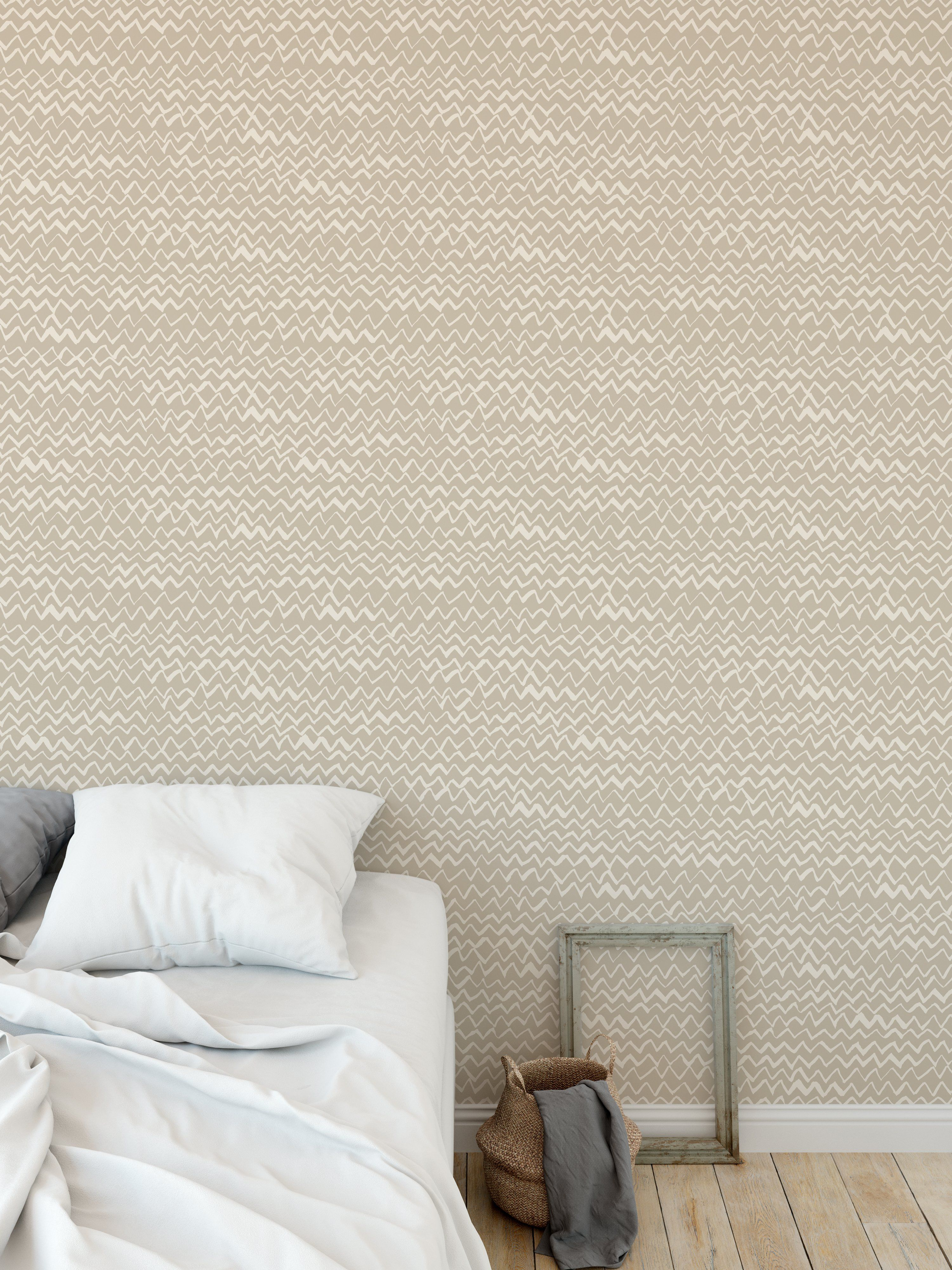 CHEVRON MOUNTAINS BEIGE Peel and Stick Wallpaper By Kavka Designs – 2ft x 16ft