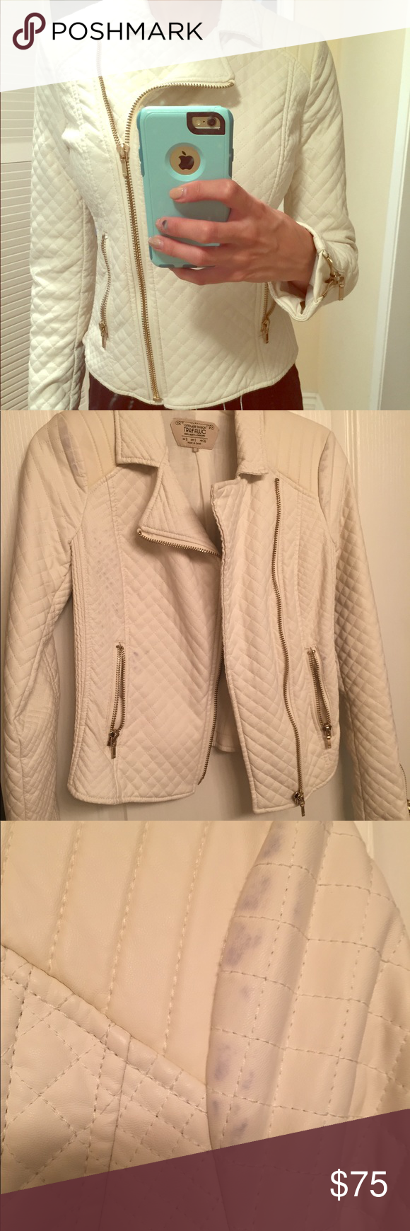 White Zara leather jacket White Zara leather jacket. Gold