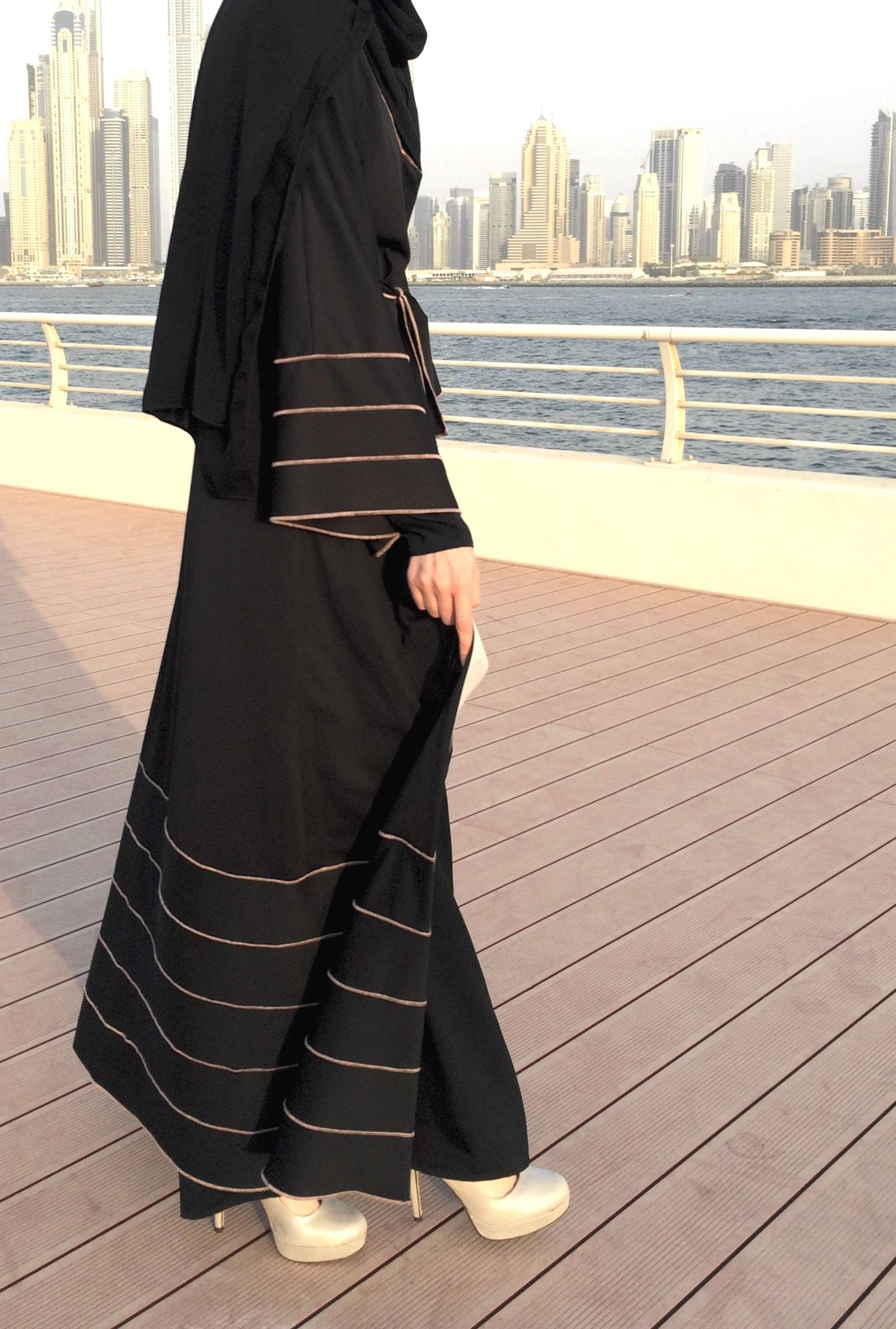 Hemming Stitch Jersey Abaya - Black