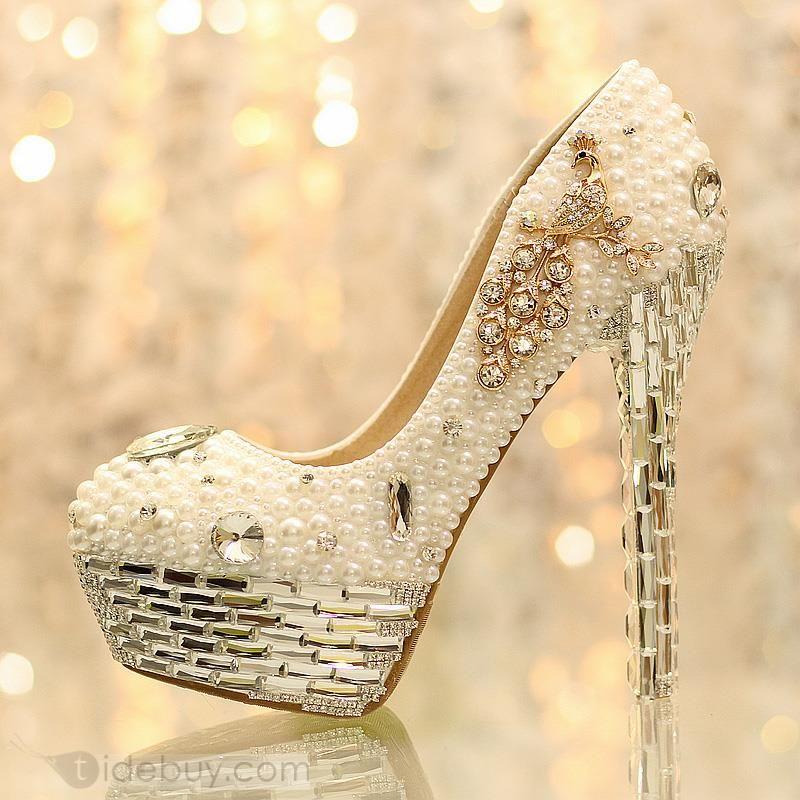 Aestheticism Rhinestone White Pearl Closed Toe Stiletto Heel Wedding Shoes : Tidebuy.com