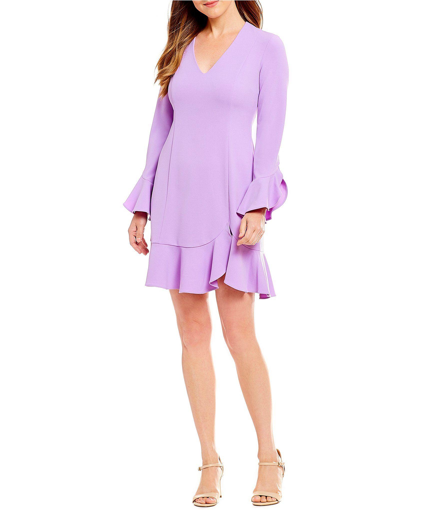 08ff7fc8649 Donna Morgan V Neck Crepe Bell Sleeve Flounce Hem Dress