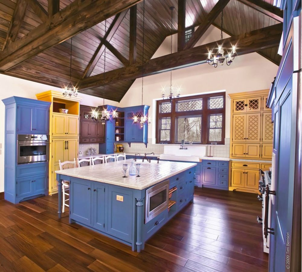 Kitchen Designs Photo Gallery: Cabinets, Cabinetry, Kitchen, Custom, Blue, Yellow, Bright