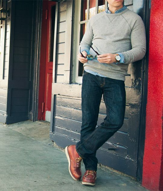 dark denim, a grey sweater over a shirt and brown shoes as a nice casual  friday outfit 3e39e49b28