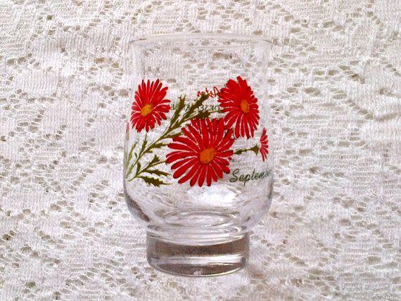 September Red Aster Flower Hurricane Glass Birthday Poem Etsy Aster Flower Glass Birthday Poems