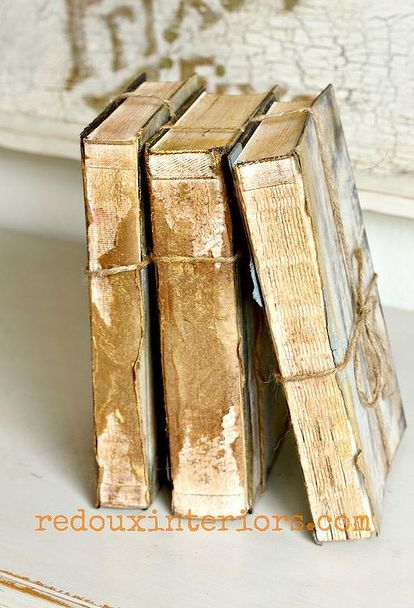 upcycled trashed books to look like antique treasures, home decor, painting, repurposing upcycling, I ripped the spine of the books to give them an instant worn look