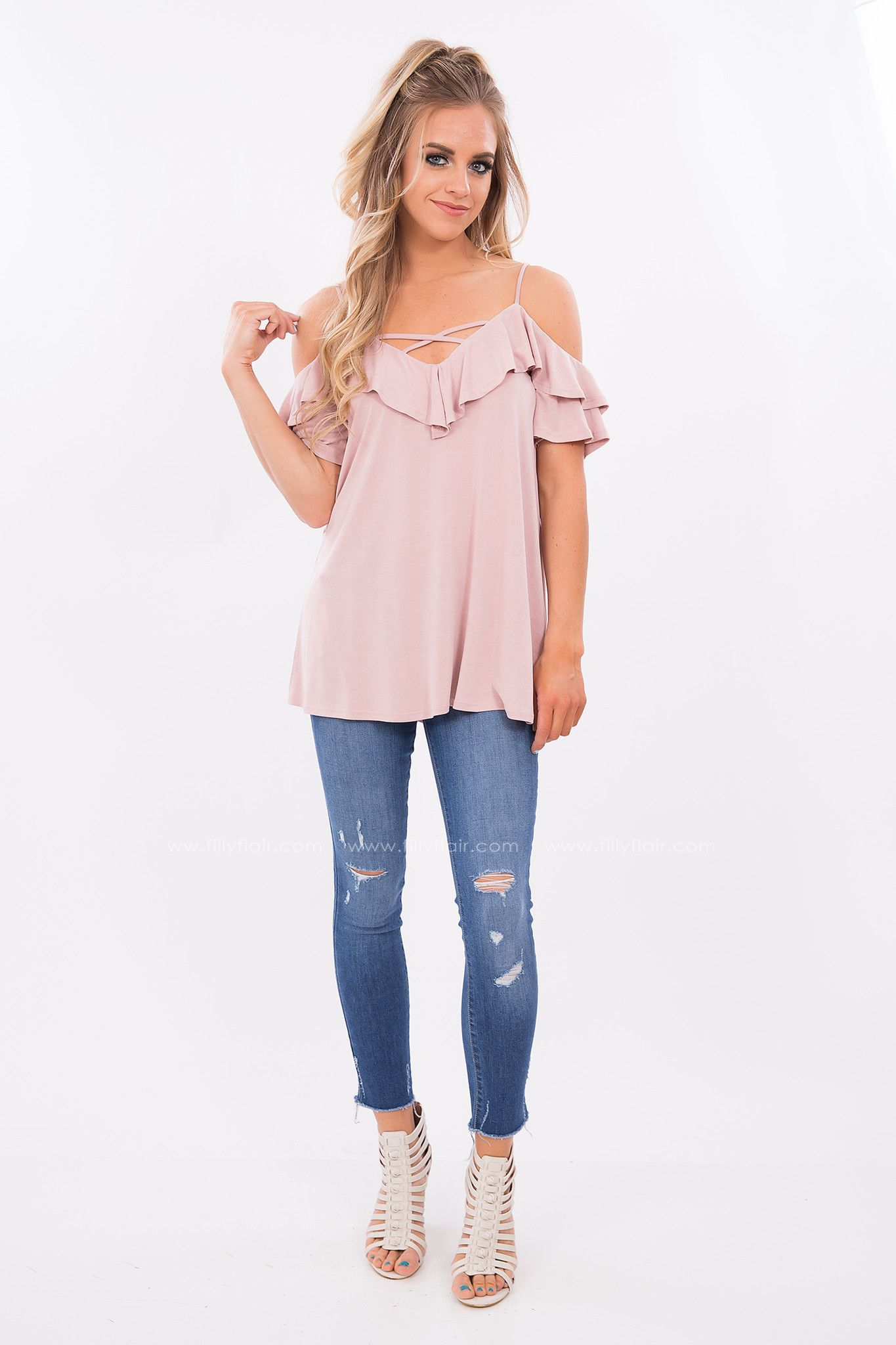 7f84e0a1ee1e42 When you need that casual top that you can still dress up for a date night  look no further than this pink off the shoulder top. This strappy neck and  cold ...