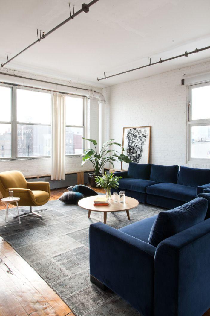 One Williamsburg Loft Two Ways Homepolish Blue Sofas Living Room Blue Couch Living Room Velvet Sofa Living Room