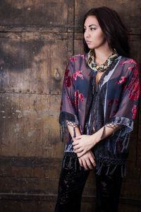 Grey Burnout Kimono