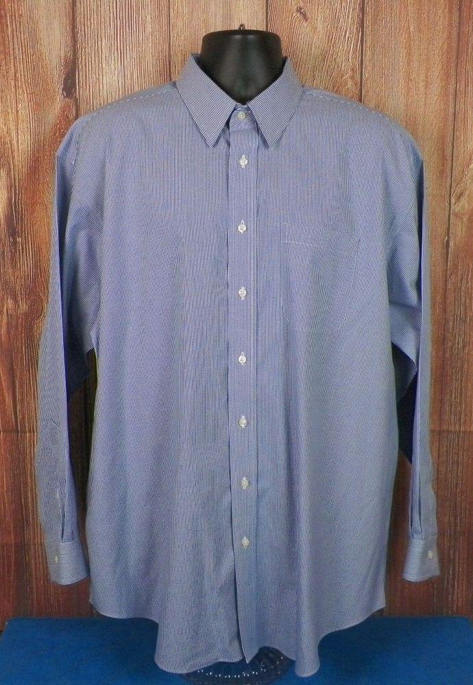 Jos A Bank Traveler's Collection Mens LS Dress Shirt Blue Striped Size 17 #2 #JosABank
