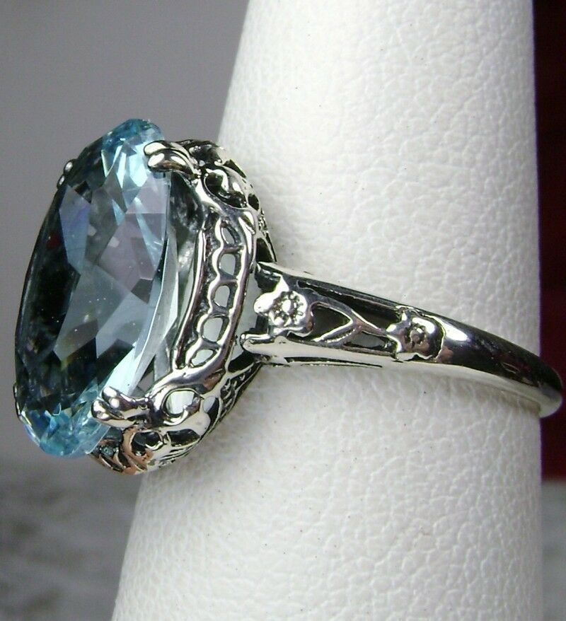 5ct *Aquamarine* Sterling Silver Edwardian/Deco Filigree Ring {Made To Order}#70 #edwardianperiod