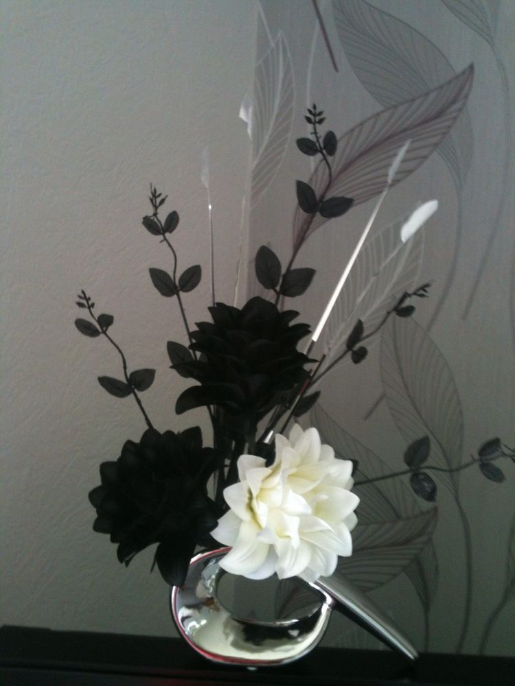 Artificial silk flower arrangement in black white flowers silver artificial silk flower arrangement in black white flowers silver vase 42 mightylinksfo