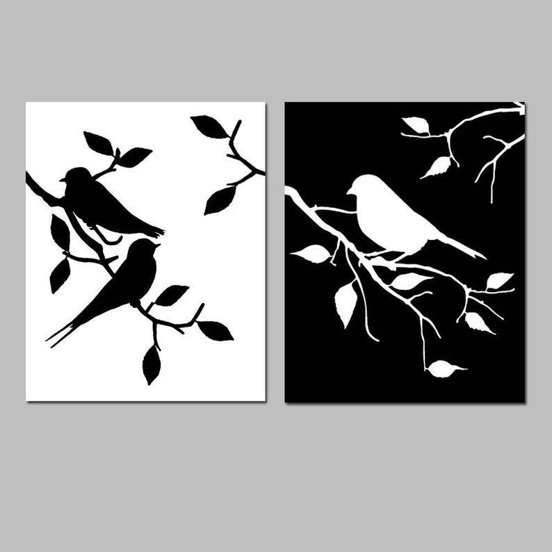 Black And White Bird Art Black And White Bird Prints Set Of Etsy Bird Prints Silhouette Wall Art Bird Wall Art