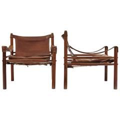 Pair of Rosewood Arne Norell Safari Chairs, Aneby Mobler, Sweden, 1960s
