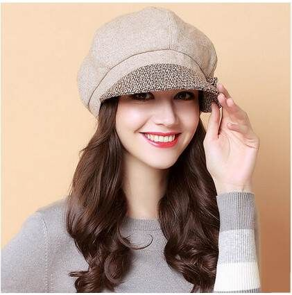 Elegant flower newsboy cap for women wool beret hat autumn wear