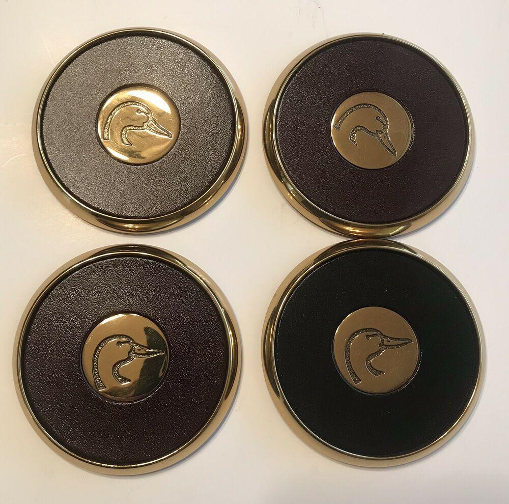 Vintage Bts Ducks Unlimited Set 4 Brass Coasters Collectible