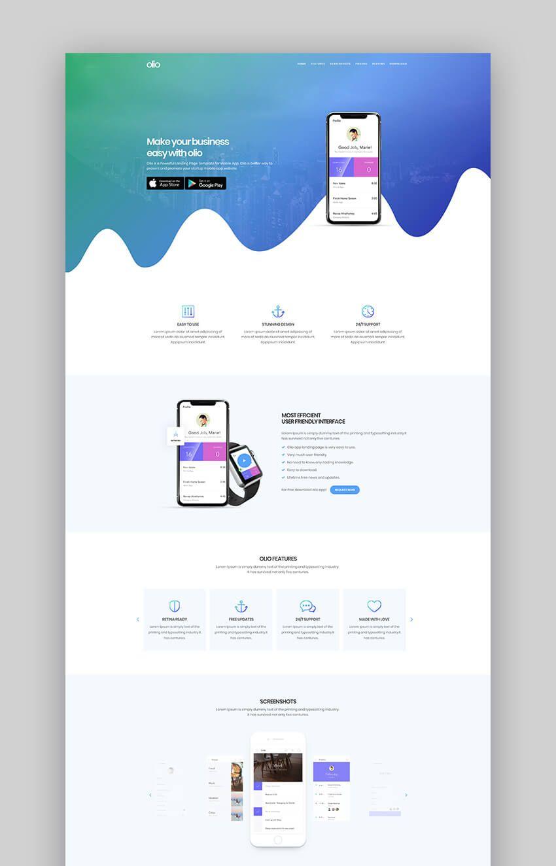 Olio Beautiful App Landing Page Template App Landing Page App Promotion Web Design Mobile app landing page template