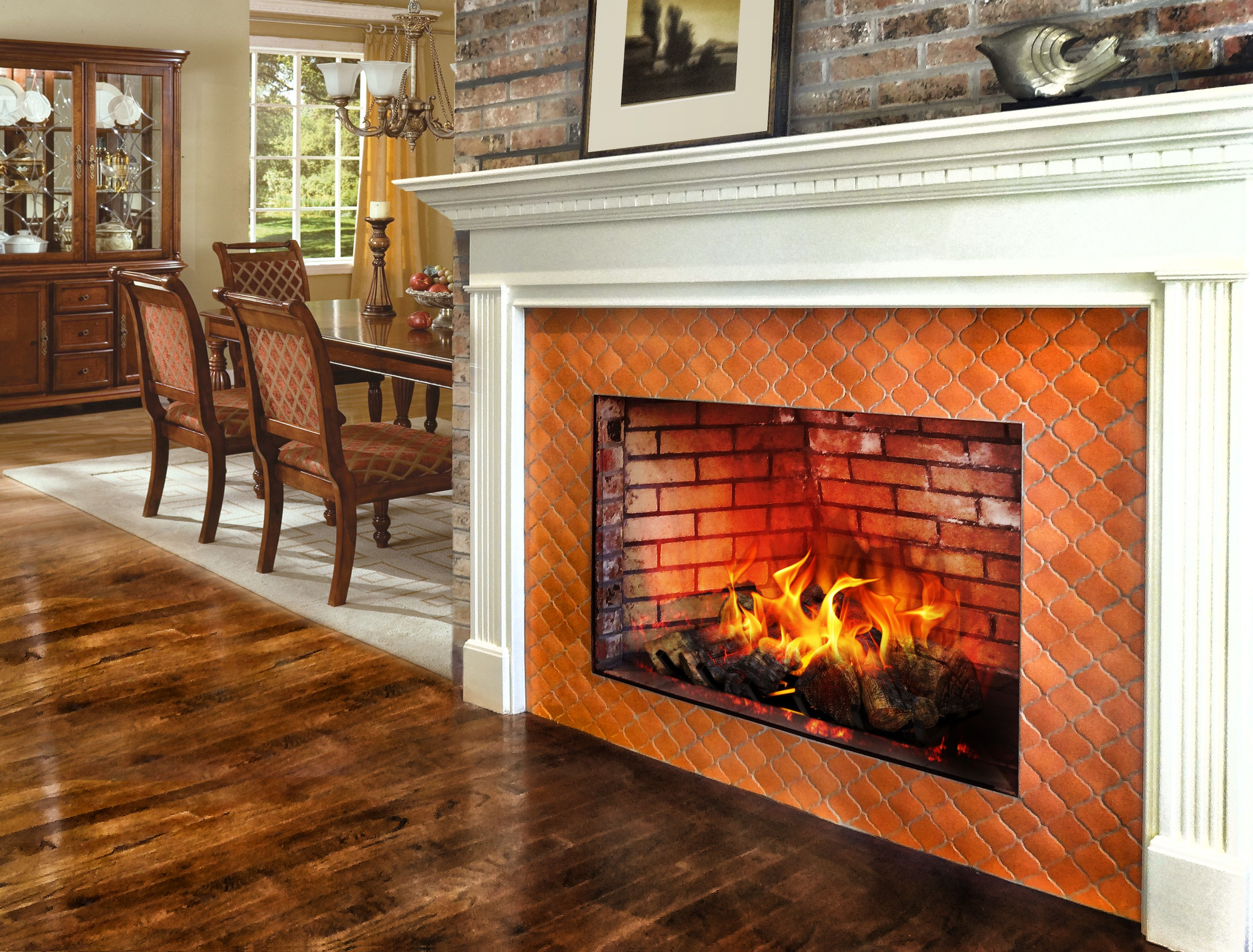 Classic wood mantel with a terracotta color arabesque tile - Tiling a brick fireplace ...