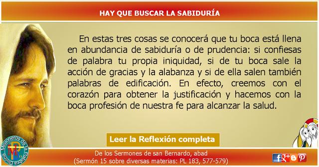 MISIONEROS DE LA PALABRA DIVINA: REFLEXIÓN - HAY QUE BUSCAR LA SABIDURÍA